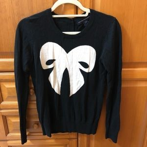 French Connection Sweaters - French Connection Black Sydney Knit Bow Sweater